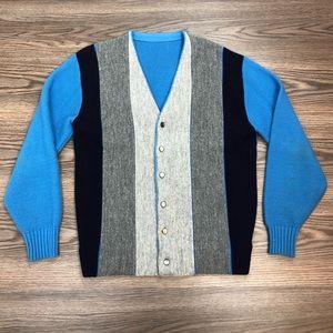 Other - Vintage 1960s Blue, Grey & Navy Stripe Cardigan M
